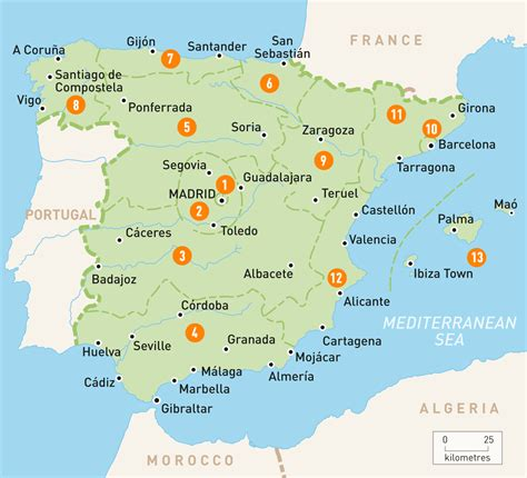 Spain On Map by Map Of Spain Spain Regions Rough Guides