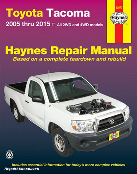 Toyota Repair Manual Haynes 2005 2015 Toyota Tacoma Truck Repair Manual