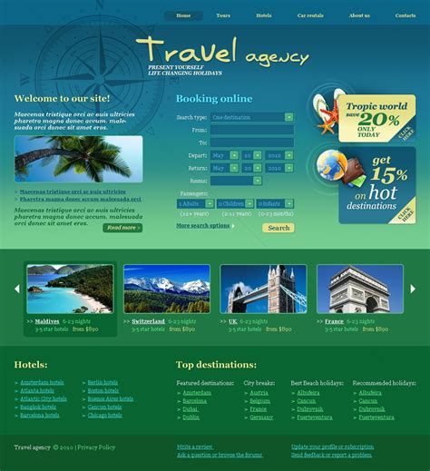 templates for travel website free download travel agency website template 30025