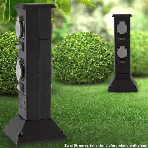 energieverteiler garten zwei energieverteiler mit vier steckdosen garten