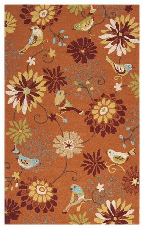 orange floral rug hooked garlond orange indoor outdoor floral rug contemporary outdoor rugs by
