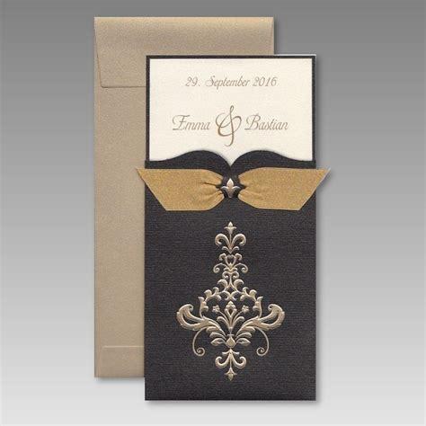 Einladungskarten Zur Goldenen Hochzeit by Edle Einladungskarte Zur Goldenen Hochzeit Mit Schleife
