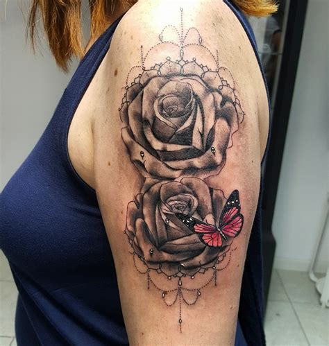 roses and butterfly tattoo trash polka gas mask on right sleeve by david mushaney