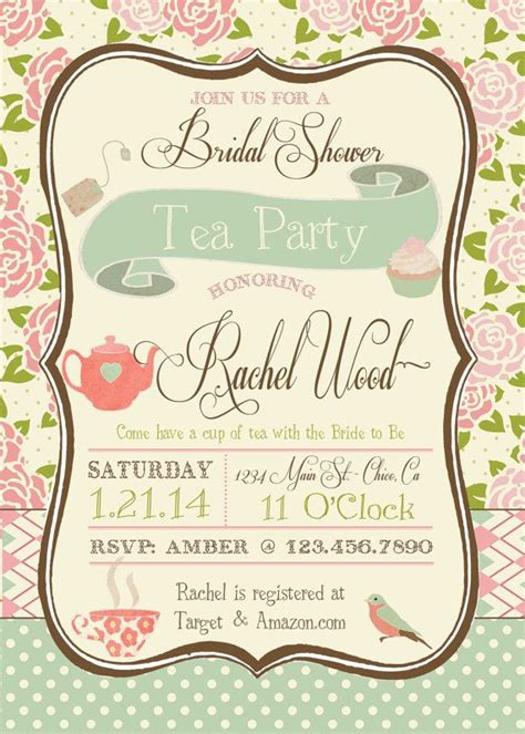 tea party bridal shower invitation by rawkonversations on