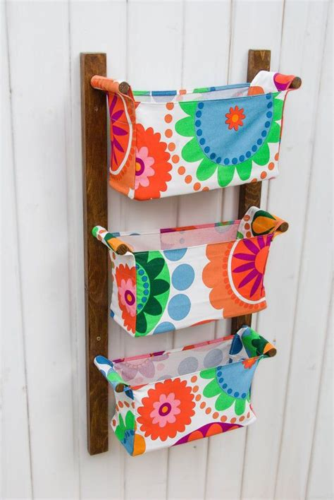 wall hanging storage with 3 pockets bins chocolate by