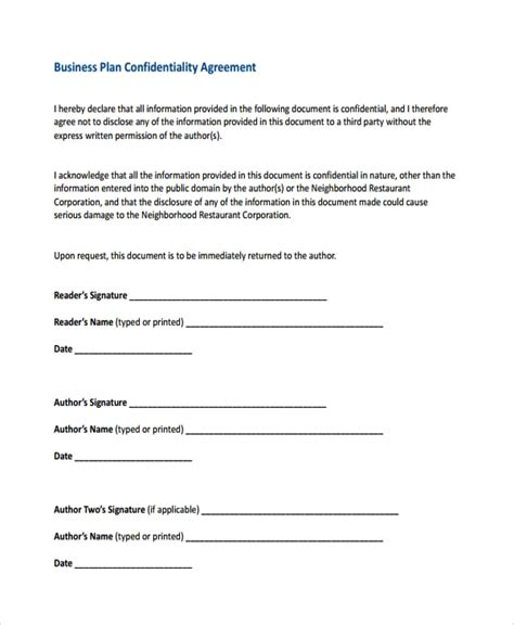 8 Business Confidentiality Agreement Templates Sle Templates Business Sale Confidentiality Agreement Template