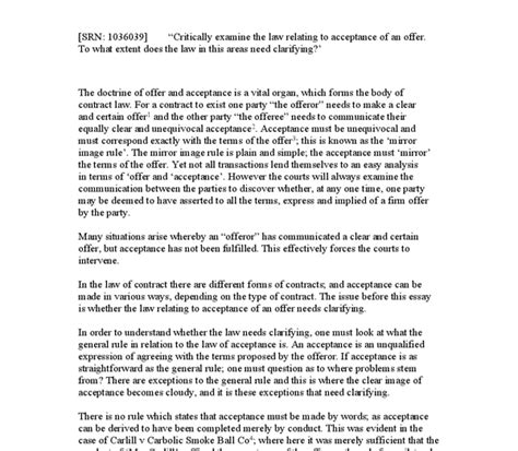 Offer And Acceptance Essay by Offer And Acceptance Contract Essay Edu Essay