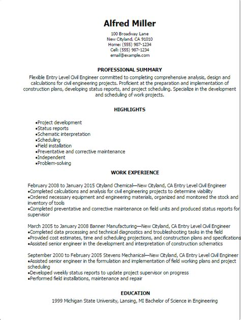 Resume Cover Letter Civil Engineer Sle Civil Engineering Resume Entry Level Gallery Creawizard