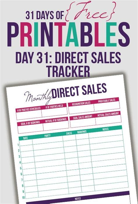 printable mary kay receipt direct sales tracker printable day 31 direct sales
