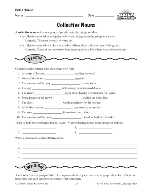 Collective Nouns Worksheets For Grade 6 by List Of Collective Nouns 2nd Grade Images