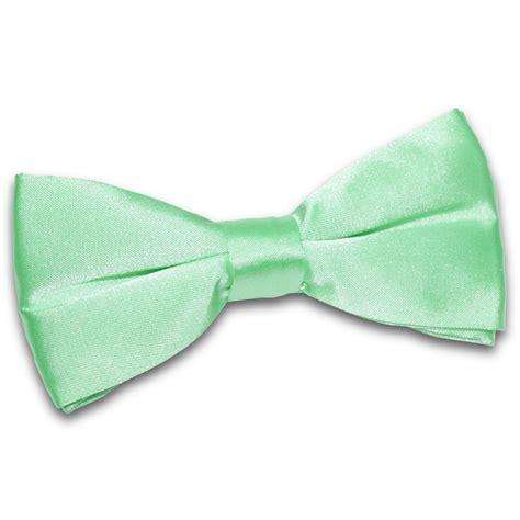 s plain mint green satin bow tie