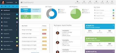 home page design sles freelance dashboard project management crm software by