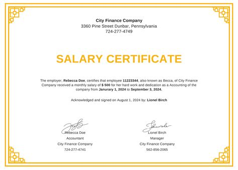 salary certificate format download sle of functional