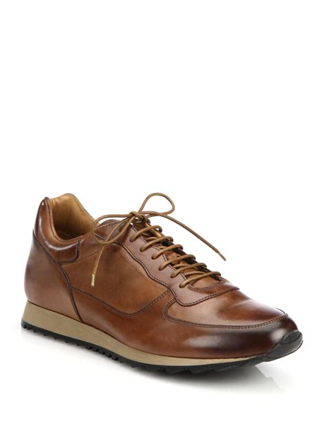 mens brown leather sneakers to boot burnished leather sneakers in brown for