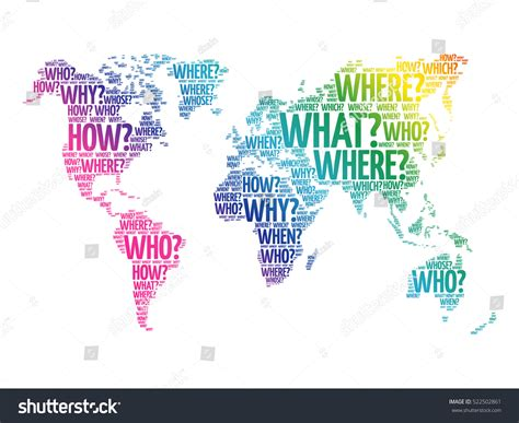 question words world map typography words stock vector