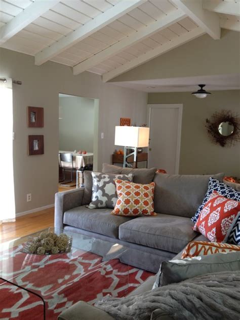 Grey Blue Orange Living Room by Orange And Grey Living Room Eclectic Living Room San