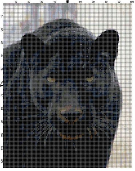 black jaguar pattern cross stitch pattern black panther cat by