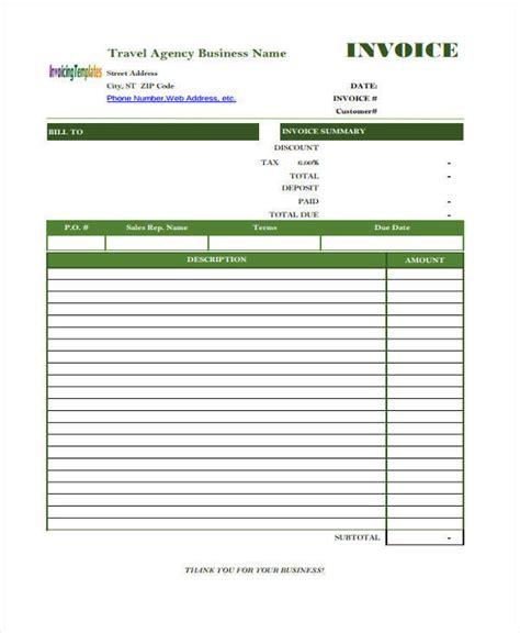 travel invoices 11 travel invoice free sle exle format