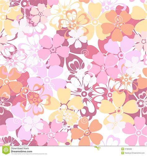 pattern pink orange seamless pattern with colorful flowers stock vector