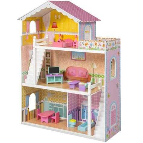 wood doll houses large children s wooden dollhouse fits barbie doll house