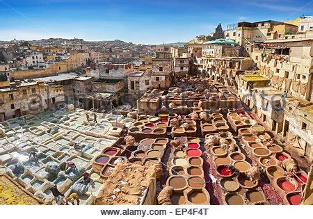 tannery scene fes fez morocco africa stock photo: 75759640