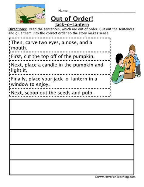 Sequencing Worksheets 2nd Grade by Sequencing Worksheet Carving A Pumpkin Teaching