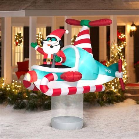 christmas yard blowups santa helicopter outdoor inflatables wikii