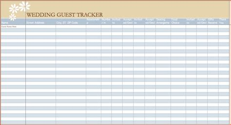 6 wedding guest list template excel bookletemplate org