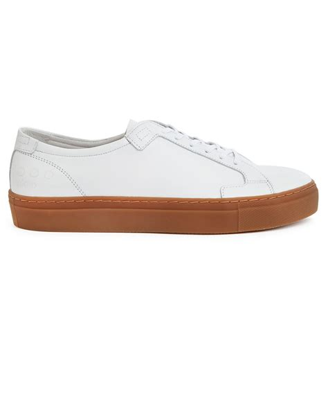 gum sole sneakers piola ica white leather sneakers with gum sole in white
