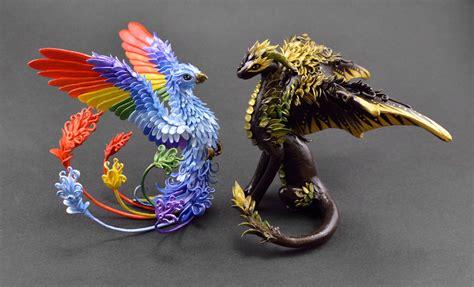 Dragon and Rainbow Phoenix by MyOwnDragon on DeviantArt
