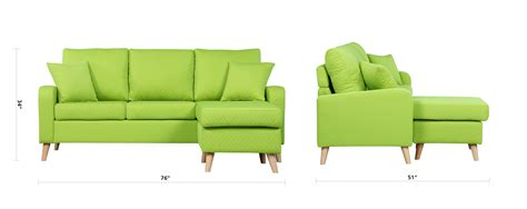 Green Sectional Sofa With Chaise by Modern Fabric Small Space Sectional Sofa With Reversible