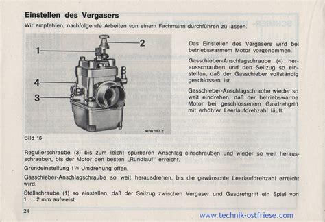 Sachs Motor Vergaser Einstellen by Hercules Prima Gx Betriebsanleitung Einstellen Des Vergasers