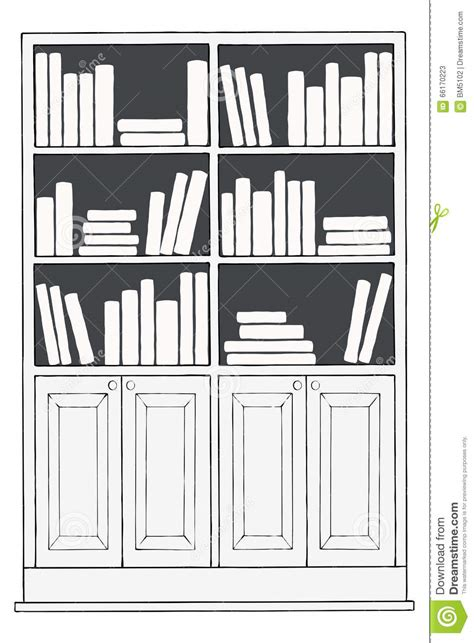 bookshelf sketch bookcase or bookshelf stock illustration image of bottom