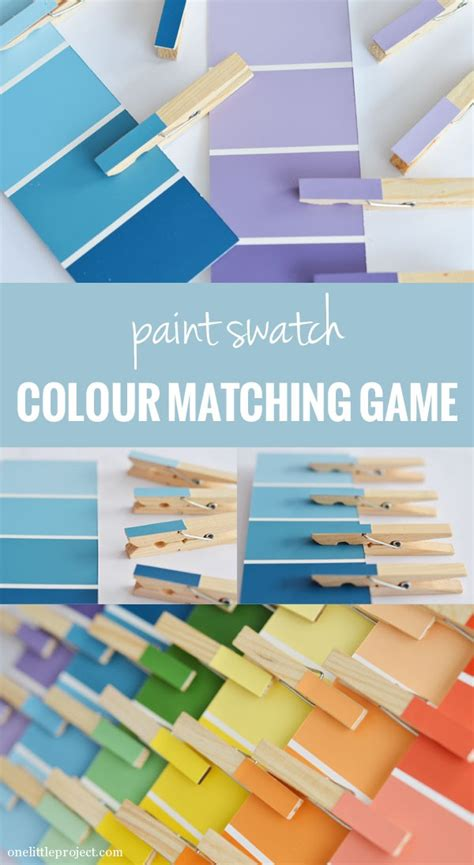 matching paint paint swatch clothes pin matching game