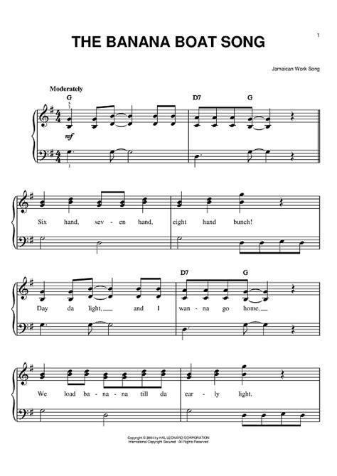 banana boat notes the banana boat song sheet music music for piano and
