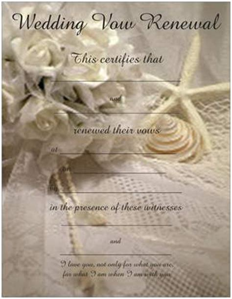 vow renewal certificate template promised hearts inc vow renewal certificates