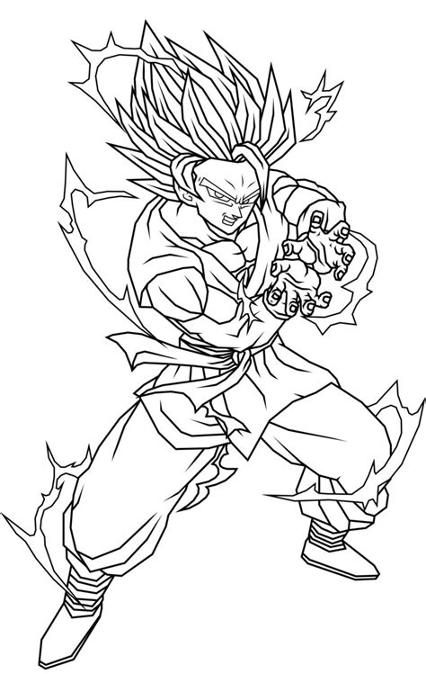 coloring page goku free coloring pages of by goku kamehameha