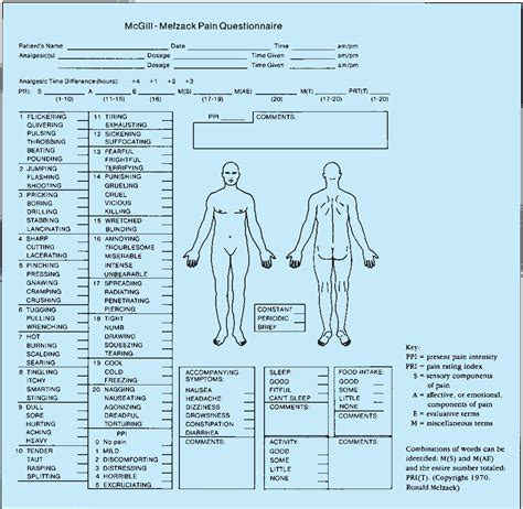 printable mcgill pain questionnaire 2054px