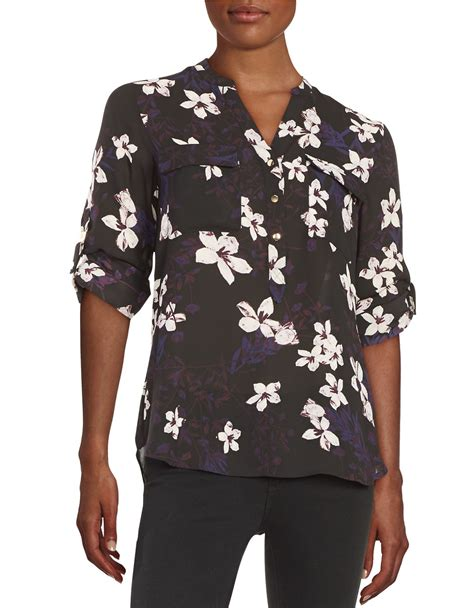 Trumpi Blouse lyst ivanka floral button front blouse in purple