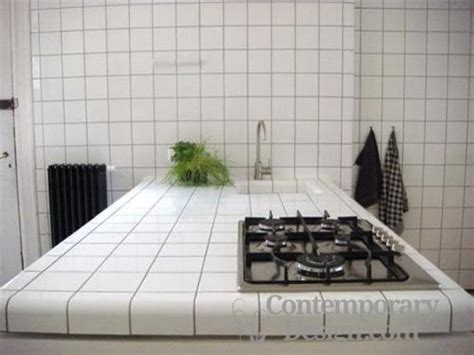 White Tile Countertops by Kitchen With White Tile Countertops