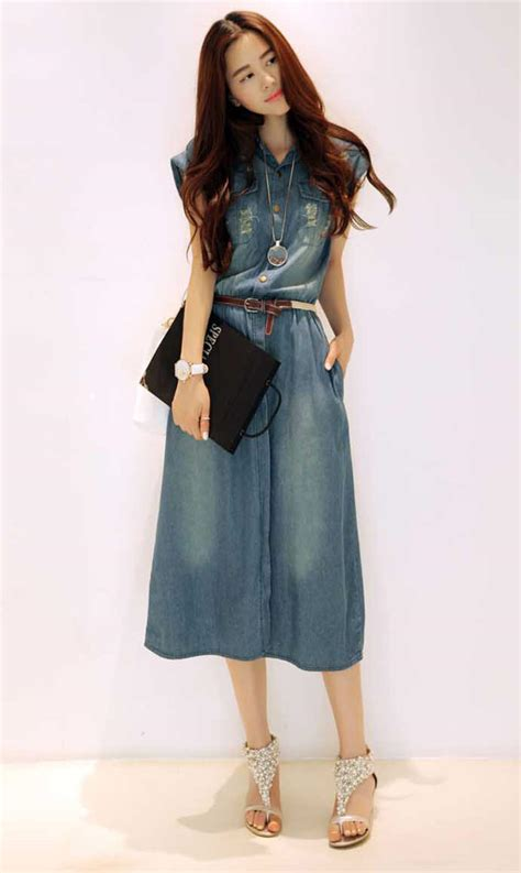 Baju Dress Wanita Dress Denim midi dress denim wanita lengan pendek casual dan modis a3184