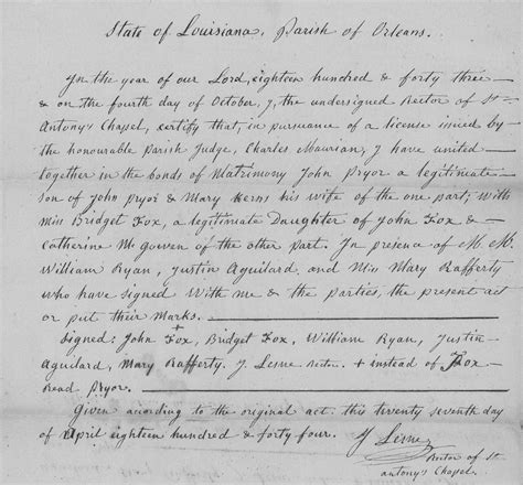 Marriage Records New Orleans Pryor And Charles Pryor Of New Orleans About 1844 Tennessee Pryors
