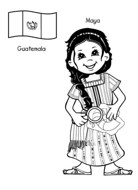 Maya Guatemalan Kid From Around The World Coloring Page