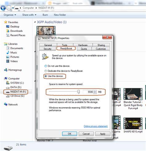 Ram Eksternal Laptop cara mengatur flashdisk menjadi ram eksternal di windows 7