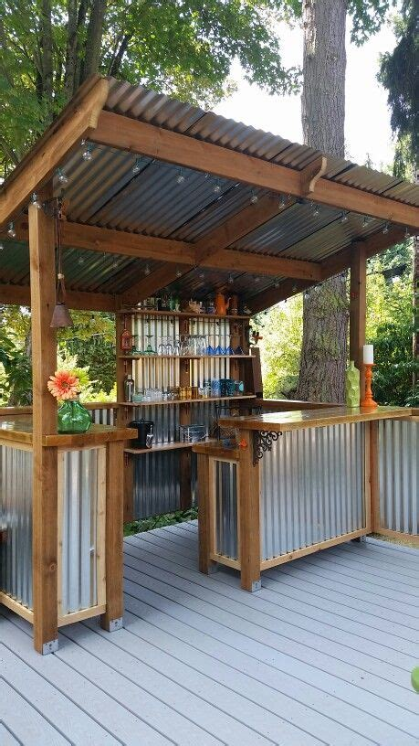how to build a bar in your backyard diy how to build a shed backyard bar metal panels and