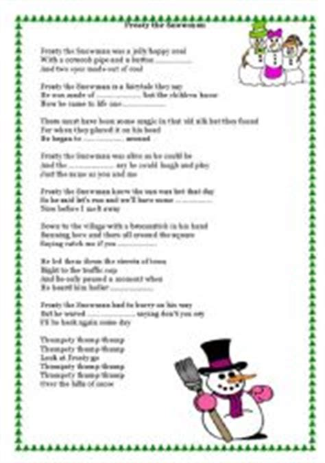printable lyrics to frosty the snowman english worksheet song frosty the snowman
