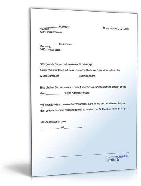 Musterbrief Für Gez Abmeldung Befreiung Teilnahme Klassenfahrt Muster Zum
