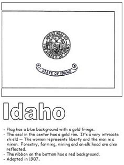 Idaho State Quarter Coloring Page Usa State Quarters Idaho State Flag Coloring Page