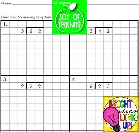 free printable long division worksheets on graph paper 3 digit by 1 digit division worksheets on grid paper