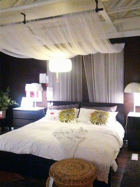 ceiling mounted bed curtains ikea bedroom design drape sheer fabric panels from